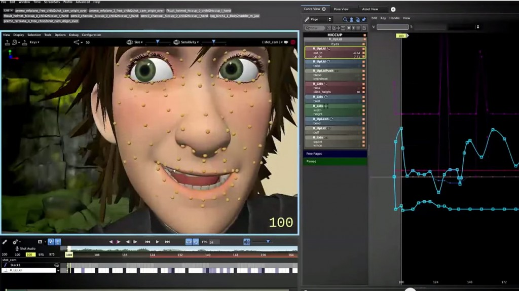 Face controls in Primo the software used by Dreamworks to animate How to Train your Dragon 2