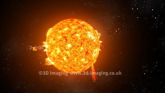 Still from Space animation with flypast of the sun with sun spots.